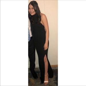 Black halter floor length dress